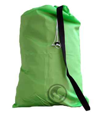 Large Nylon Laundry Bag with Strap, Fluorescent Lime Green