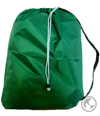 Small Green 210 Denier Laundry Bags with Straps