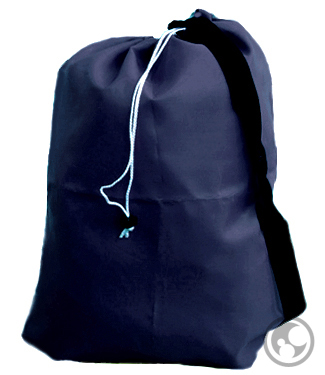 Small Navy Blue Nylon Laundry Bag with Carry Strap