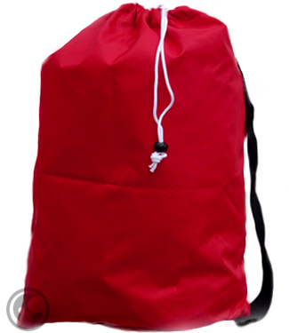 Small Laundry Bag with Carry Strap, Color: Red